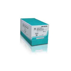 NW6557-3/8 Circle Spatulated Advanced MICRO-POINT Double Needle, 10-0, 6 mm, MERSILENE Green Monofilament 20 cm