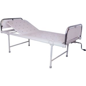 Semi-fowler bed with stainless steel head and foot bows with sunmica