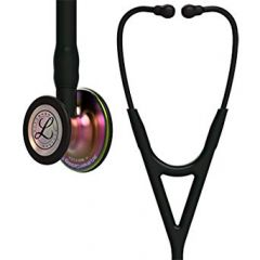 3M Littmann Stethoscope Cardiology IV: Rainbow FInish Chest-Piece with Black Tubing 6165