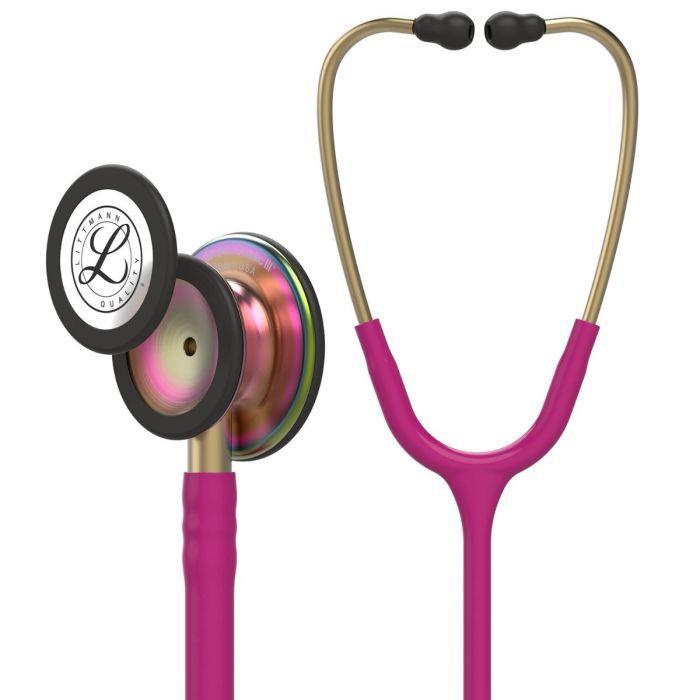Littmann Stethoscope Classic III: Rainbow Finish chest-piece with Raspberry tubing 5806