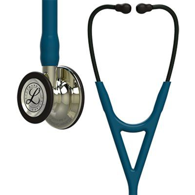 Littmann Cardiology IV Stethoscope Champagne Chestpiece, Caribbean Blue Tube, 27 inch, 6190