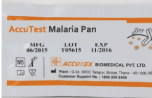 Accurex Accutest Malaria Pan/Pf(hrp II) (Pack of 25 Tests)