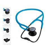 MDF ProCardial ERA Lightweight Cardiology Dual Head Stethoscope- Black and Bright Blue (NoirNoir S.Swell) (MDF797XBO14)