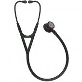 Littmann Cardiology IV Diagnostic Stethoscope, Black-Finish Chestpiece, Black Tube, Red Stem and Black Headset, 27 inch, 6200