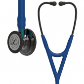 3M Littmann Cardiology IV Diagnostic Stethoscope, High Polish Smoke-Finish Chestpiece, Navy Tube,  Blue Stem and Black Headset, 27 inch, 6202