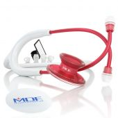 MDF Acoustica Lightweight Dual Head Stethoscope- White and Red (MDF747XPR29)