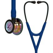 Littmann Stethoscope Cardiology IV: High Polish Rainbow-Finish Chestpiece,  Navy Tube,  Black Stem and Black Headset, 27 inch, 6242