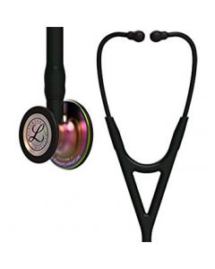3M Littmann Stethoscope Cardiology IV: Rainbow FInish Chest-Piece with Black Tubing 6165