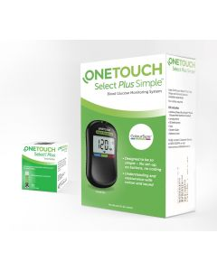 OneTouch Select Plus Simple Glucometer (FREE 10 strips + lancing device + 10 lancets)