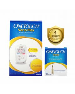 OneTouch Verio Flex Blood Glucose Monitor with OneTouch Reveal mobile application(FREE 10 strips + lancing device + 10 lancets)