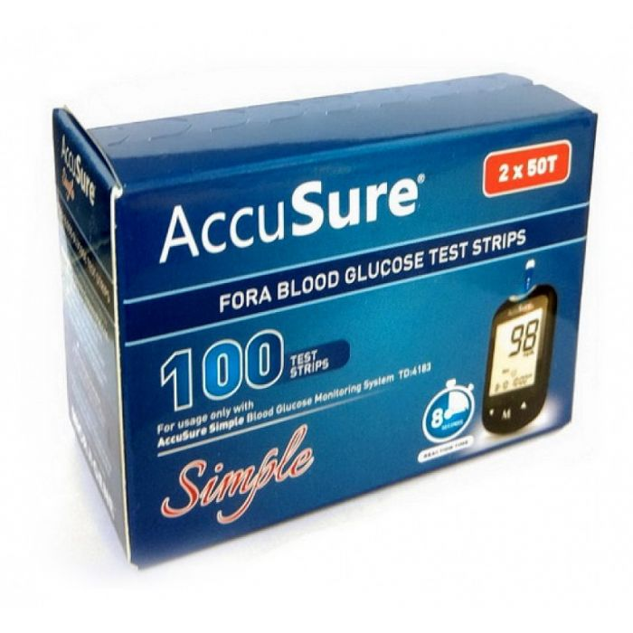Accu Sure Simple Test Strips (Box of 100)
